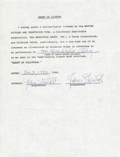 JAMES JIMMY STEWART - DOCUMENT SIGNED 12/08/1986 CO-SIGNED BY: GLORIA STEWART