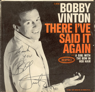 BOBBY VINTON - RECORD COVER SIGNED