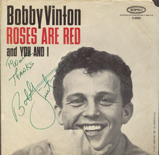 BOBBY VINTON - INSCRIBED RECORD ALBUM COVER SIGNED