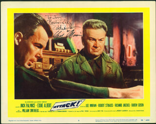 ATTACK! MOVIE CAST - INSCRIBED LOBBY CARD SIGNED CO-SIGNED BY: EDDIE ALBERT, LEE MARVIN
