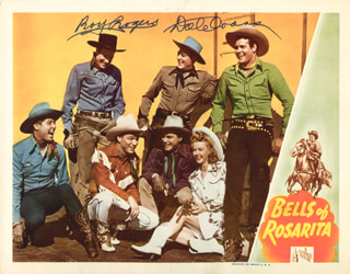 Autographs: ROY ROGERS - LOBBY CARD SIGNED CO-SIGNED BY: DALE EVANS