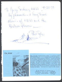 Autographs: PHIL TYLER - AUTOGRAPH NOTE SIGNED 03/25/1971