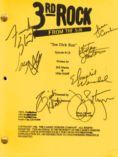 3RD ROCK FROM THE SUN TV CAST - SCRIPT SIGNED CIRCA 1996 CO-SIGNED BY: JOHN LITHGOW, JANE CURTIN, KRISTEN JOHNSTON, SIMBI KHALI, FRENCH STEWART, IAN LITHGOW