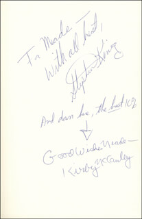 STEPHEN KING - INSCRIBED BOOK SIGNED CIRCA 1979 CO-SIGNED BY: KIRBY McCAULEY
