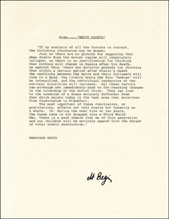 PRIME MINISTER MENACHEM BEGIN (ISRAEL) - TYPESCRIPT SIGNED