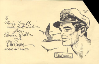 Autographs: RAEBURN VAN BUREN - INSCRIBED ORIGINAL ART DOUBLE SIGNED