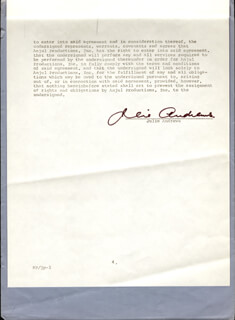 JULIE ANDREWS - CONTRACT SIGNED 07/01/1973