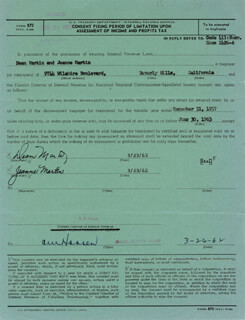 DEAN MARTIN - DOCUMENT SIGNED 03/26/1962 CO-SIGNED BY: JEANNE MARTIN