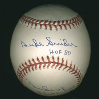DUKE SNIDER - BASEBALL DOUBLE SIGNED