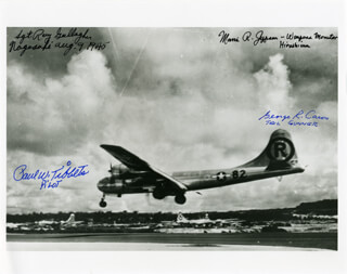 ENOLA GAY CREW - AUTOGRAPHED SIGNED PHOTOGRAPH CO-SIGNED BY: ENOLA GAY CREW (MORRIS JEPPSON), BOCK'S CAR CREW (RAYMOND GALLAGHER), ENOLA GAY CREW (GEORGE R. CARON), ENOLA GAY CREW (PAUL W. TIBBETS)