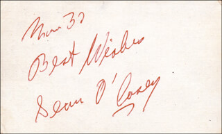 SEAN O'CASEY - AUTOGRAPH SENTIMENT SIGNED 3/1937