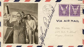 MAJOR EDWARD V. EDDIE RICKENBACKER - ENVELOPE SIGNED CIRCA 1943