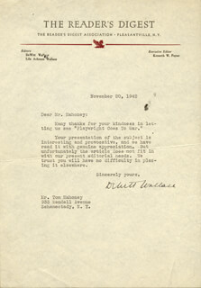 DEWITT WALLACE - TYPED LETTER SIGNED 11/20/1942