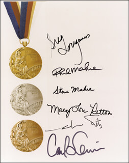 GREG LOUGANIS - AUTOGRAPHED SIGNED PHOTOGRAPH CO-SIGNED BY: MARY LOU RETTON, CARL LEWIS, MARK SPITZ, STEVEN I. MAHRE, PHILLIP MAHRE