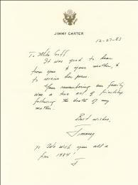 PRESIDENT JAMES E. JIMMY CARTER - AUTOGRAPH LETTER SIGNED 12/27/1983