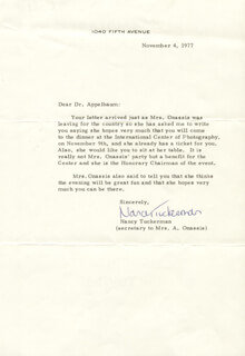 FIRST LADY JACQUELINE B. KENNEDY - INVITATION UNSIGNED CIRCA 11/4/19WITH NANCY TUCKERMAN