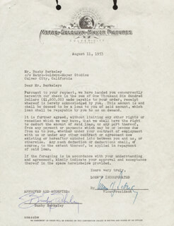 Autographs: BUSBY BERKELEY - DOCUMENT SIGNED 08/11/1953