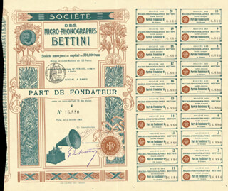 GIANNI BETTINI - BOND SIGNED 02/02/1901