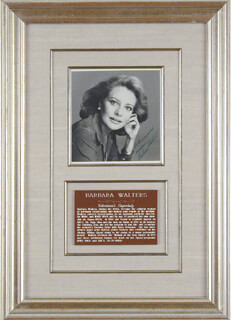 BARBARA WALTERS - AUTOGRAPHED SIGNED PHOTOGRAPH
