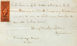HENRY WADSWORTH LONGFELLOW - AUTOGRAPH DOCUMENT SIGNED 05/01/1868