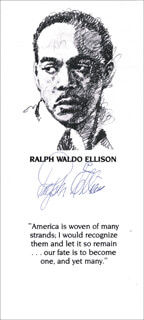 RALPH WALDO ELLISON - QUOTATION SIGNED