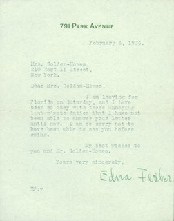 EDNA FERBER - TYPED LETTER SIGNED 2/6