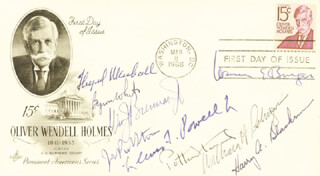 Autographs: THE WARREN E. BURGER COURT - FIRST DAY COVER SIGNED CO-SIGNED BY: ASSOCIATE JUSTICE BYRON R. WHITE, CHIEF JUSTICE WARREN E. BURGER, ASSOCIATE JUSTICE LEWIS F. POWELL JR., ASSOCIATE JUSTICE POTTER STEWART, ASSOCIATE JUSTICE WILLIAM J. BRENNAN JR., ASSOCIATE JUSTICE THURGOOD MARSHALL, CHIEF JUSTICE WILLIAM H. REHNQUIST, ASSOCIATE JUSTICE HARRY A. BLACKMUN, ASSOCIATE JUSTICE JOHN PAUL STEVENS