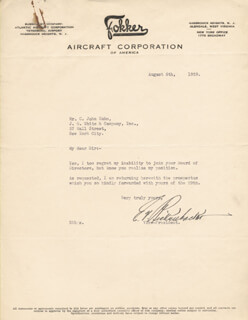 MAJOR EDWARD V. EDDIE RICKENBACKER - TYPED LETTER SIGNED 08/05/1929