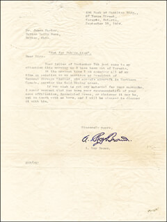 Autographs: CAPTAIN A. ROY BROWN - TYPED LETTER SIGNED 9/15