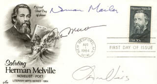 ARTHUR MILLER - FIRST DAY COVER SIGNED CO-SIGNED BY: NORMAN MAILER, LEON URIS