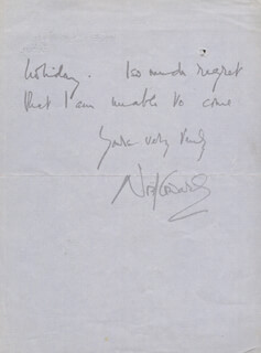 SIR NOEL COWARD - AUTOGRAPH LETTER SIGNED 4/15
