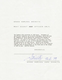 Autographs: GRAND ADMIRAL KARL DONITZ - TYPESCRIPT SIGNED 6/12/1979