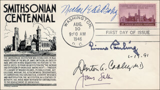 Autographs: DR. DENTON A. COOLEY - FIRST DAY COVER SIGNED 01/19/1991 CO-SIGNED BY: DR. JONAS SALK, LINUS PAULING, DR. MICHAEL E. DEBAKEY