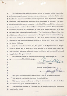 ORSON WELLES - CONTRACT DOUBLE SIGNED 03/26/1943