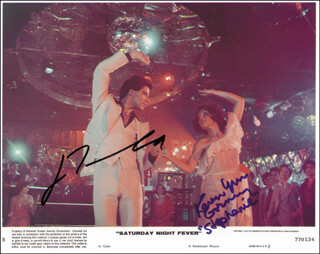 Autographs: SATURDAY NIGHT FEVER MOVIE CAST - LOBBY CARD SIGNED CO-SIGNED BY: JOHN TRAVOLTA, KAREN LYNN GORNEY
