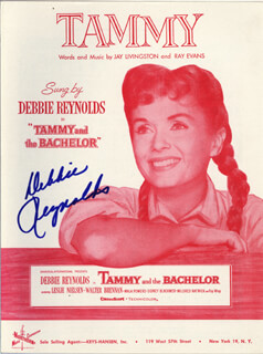 DEBBIE REYNOLDS - SHEET MUSIC SIGNED CIRCA 1957