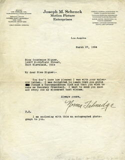 NORMA TALMADGE - TYPED LETTER SIGNED 03/27/1924