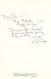 EMIL SITKA - INSCRIBED CHRISTMAS / HOLIDAY CARD SIGNED CIRCA 1986