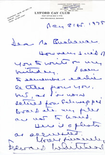 COMMANDER EDWARD WHITEHEAD - AUTOGRAPH LETTER SIGNED 05/21/1975