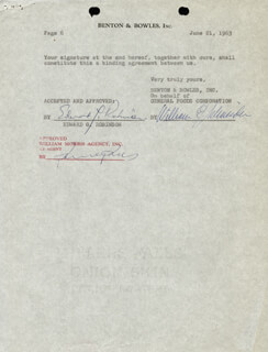 EDWARD G. ROBINSON - CONTRACT MULTI-SIGNED 06/21/1963