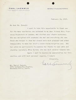 CARL LAEMMLE SR. - TYPED LETTER SIGNED 02/16/1937