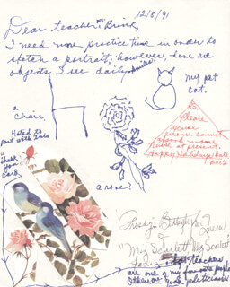 BUTTERFLY McQUEEN - ORIGINAL ART ON AUTOGRAPH LETTER SIGNED 12/08/1991