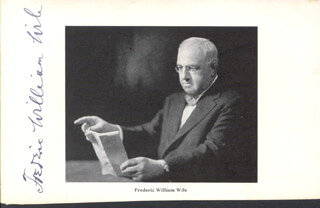 FREDERIC WILLIAM WILE - AUTOGRAPHED SIGNED PHOTOGRAPH