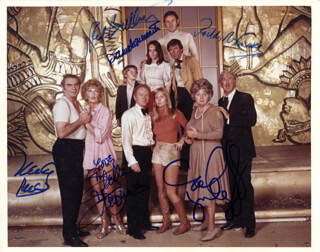 THE POSEIDON ADVENTURE MOVIE CAST - AUTOGRAPHED SIGNED PHOTOGRAPH CO-SIGNED BY: PAMELA SUE MARTIN, RODDY McDOWALL, RED BUTTONS, STELLA STEVENS, CAROL LYNLEY