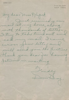 DORIS DAY - AUTOGRAPH LETTER SIGNED