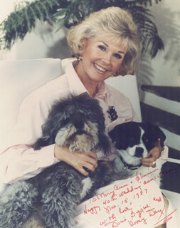 DORIS DAY - AUTOGRAPHED INSCRIBED PHOTOGRAPH 11/15/1987