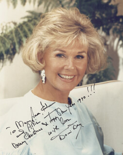 DORIS DAY - AUTOGRAPHED INSCRIBED PHOTOGRAPH 1990