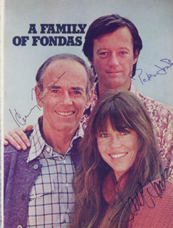 HENRY FONDA - MAGAZINE PHOTOGRAPH SIGNED CO-SIGNED BY: JANE FONDA, PETER FONDA