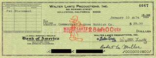 WALTER LANTZ - AUTOGRAPHED SIGNED CHECK