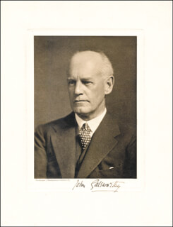 Autographs: JOHN GALSWORTHY - PHOTOGRAPH SIGNED